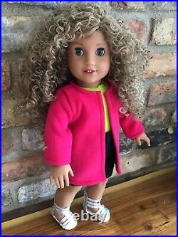 Stacy Custom American Girl Doll OOAK Blonde Curly Hair Blue Eyes Courtney 80s
