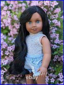 Vanessa Custom African American Girl Doll OOAK Black Curly Hair Blue Eyes Sonali