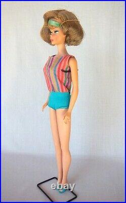 Vintage 1966 Barbie American Girl Doll Side Part Plenty Of Ash Blonde Swimwear