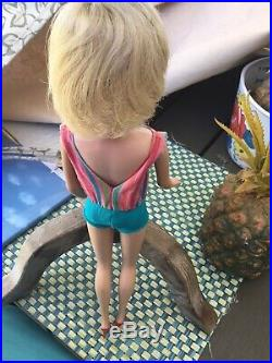 Vintage 1966 Rare Pale Thick Blonde American Girl Bent Knee Barbie Doll Fabulous
