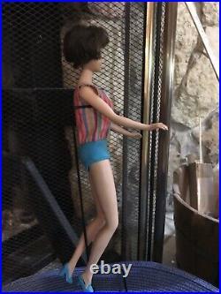 Vintage American Girl Barbie Brunette, Original Swimsuit, Stand