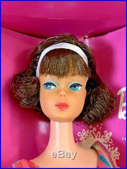 Vintage American Girl Brunette Side Part Barbie Doll w Box OSS Stand Pamphlet