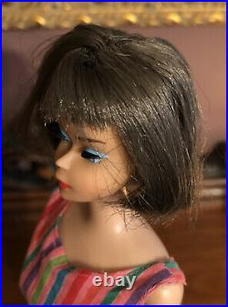 Vintage American Girl Long Hair Silver Brunette Doll with Box Swimsuit Stand Book